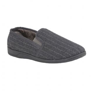 Lotus Mens Alfie Grey Slippers
